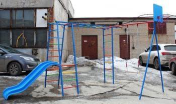 ДСК Гимнаст с пластиковой горкой цвет морячёк - Уличное оборудование, артикул:7238