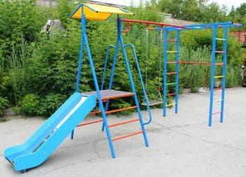 ДСК Дача  АП с горкой цвет синий - Уличное оборудование, артикул:8345
